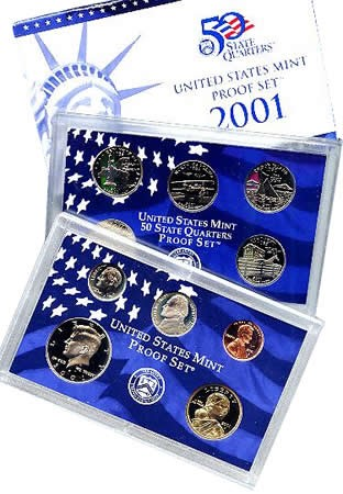 2001 US Mint Proof Set 10pc