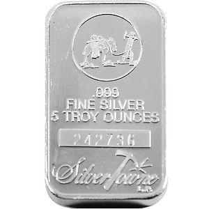 5 Troy Oz. Silver Towne .999 Fine Silver Bar