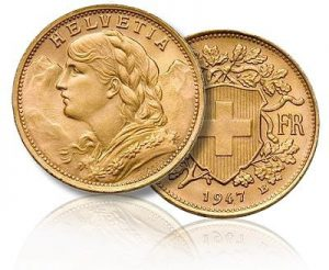 Swiss Helvatia 20 Franc Gold Coin