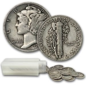 Roll $5.00 Face Mercury Dimes (Qty50)