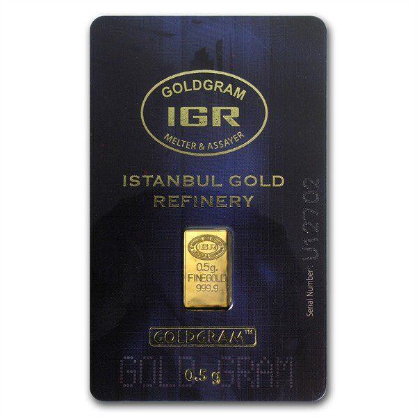 IGR 0.5 Gram .999 Gold Bar with COA