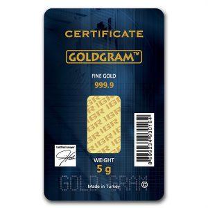 IGR 5 Gram .9999 Gold Bar with COA