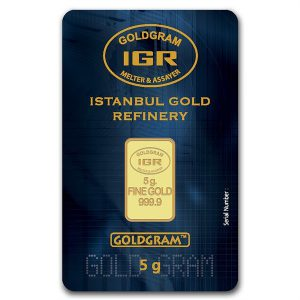 IGR 5 Gram .9999 Gold Bar with COA