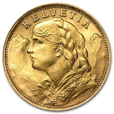 Swiss Helvatia 20 Franc Gold Coin