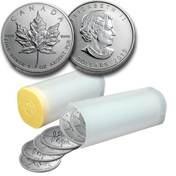 Roll (25) 1oz Silver Canadian Maple Leafs