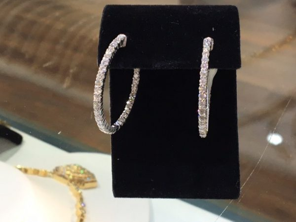 3.0ct tw Dia. Hoop Earrings 14k wg