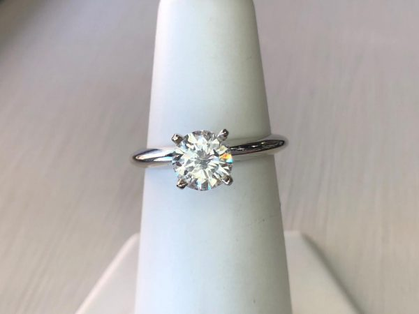 1.01ct RB GIA G-I1 14k wg Solitaire Ring
