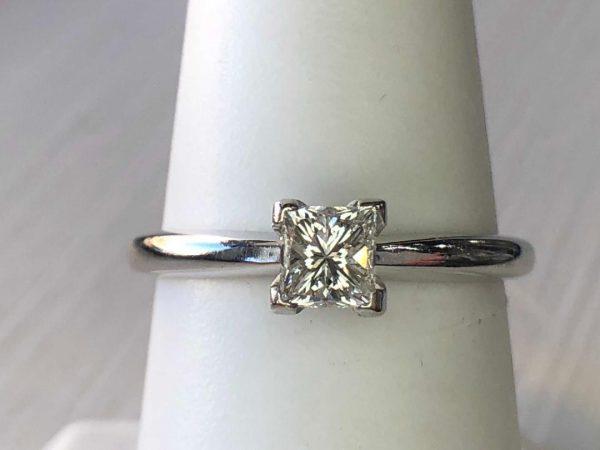 0.50ct H-VS1 Princess Cut 14k wg Solitaire Ring