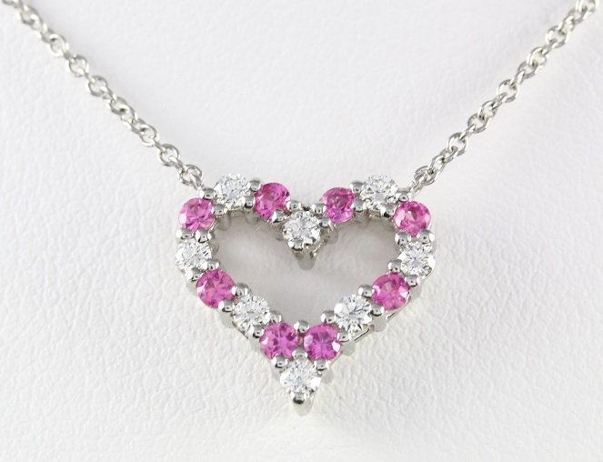 Tiffany Co Platinum Diamond Pink Sapphire Heart Necklace Alabama Gold Refinery